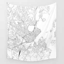 Portland Maine White Map Wall Tapestry