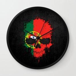 Flag of Portugal on a Chaotic Splatter Skull Wall Clock