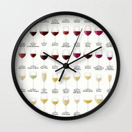Types of Wine Glasses Wall Clock