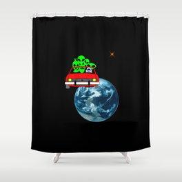 Ride to Mars selfie Shower Curtain