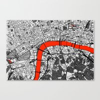 london map Canvas Prints featuring London Map by Dizzy Moments