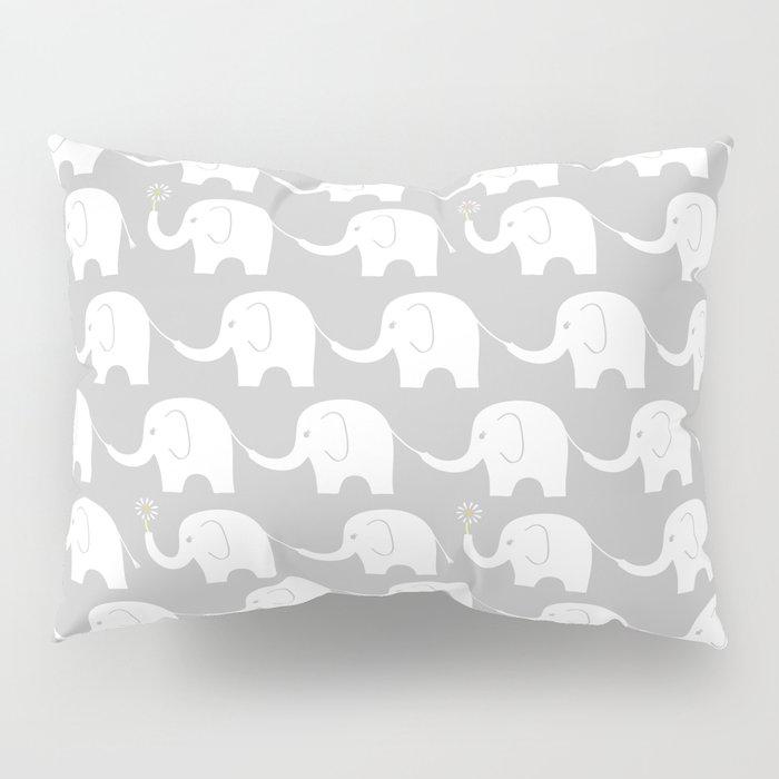 Elephant Parade on Grey Pillow Sham