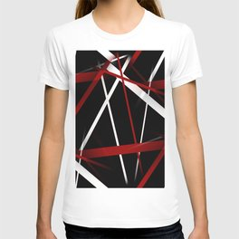 Seamless Red and White Stripes on A Black Background T-shirt