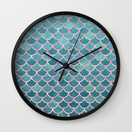 Mermaid Scales in Teal and Rose Gold Wall Clock