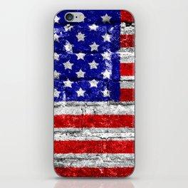 USA Flag Brick Wall iPhone Skin