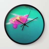 sea turtle Wall Clocks featuring Turtle  by Danielle Janes