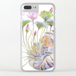 Nautilus and Lotus Surreal Watercolor Creature Clear iPhone Case