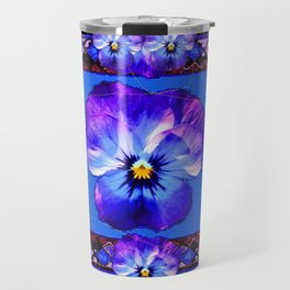 Purple Pansy & Butterflies Melody Abstract Travel Mug