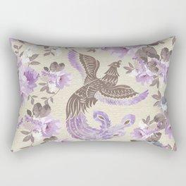 Phoenix Bird with watercolor flowers Rectangular Pillow