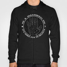 Me & Paranormal You - James Roper Design - Palmistry B&W (white lettering) Hoody