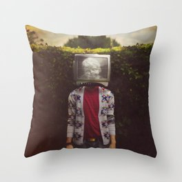 This TV haze sucks me through. I watch the world from the inside Throw Pillow