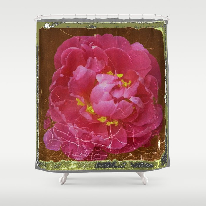 Vintage Grundy Pink Peony Antique Photo Shower Curtain