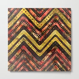 Tribal Aztec Gold and red glass pattern Metal Print