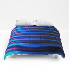 Abstract horizontal linework, neon pink and neon blue. Comforters