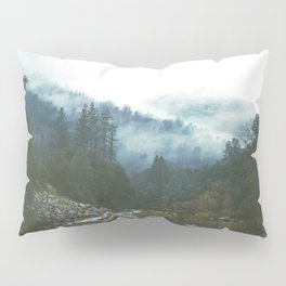 Into the foggy woods - Nature Landscape Photography Pillow Sham