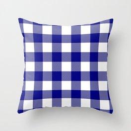 Gingham (Navy Blue/White) Throw Pillow