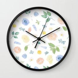 Pastel Blue Florals Watercolour Pattern Wall Clock