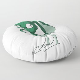 Pine Green/Color-Or-Paint-Your-Own Reptilian Bird #ArtofGaneneK #Animal Floor Pillow