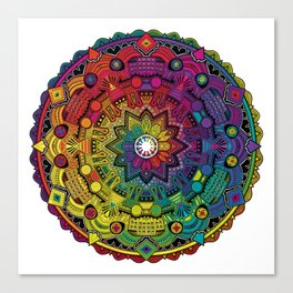 Time Dilation - Psychedelic Mandala Rainbow series Canvas Print