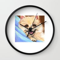 preppy Wall Clocks featuring Preppy Pomeranian by Britanee LeeAnn Sickles