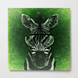 Hipster Zebra in Green Metal Print