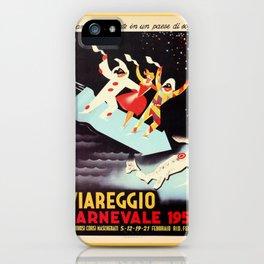 Vintage Viareggio carnival Italian travel ad  iPhone Case