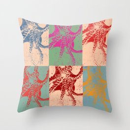 Popart Octopus Throw Pillow
