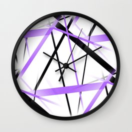 Criss Crossed Lilac and Black Stripes on White Wall Clock