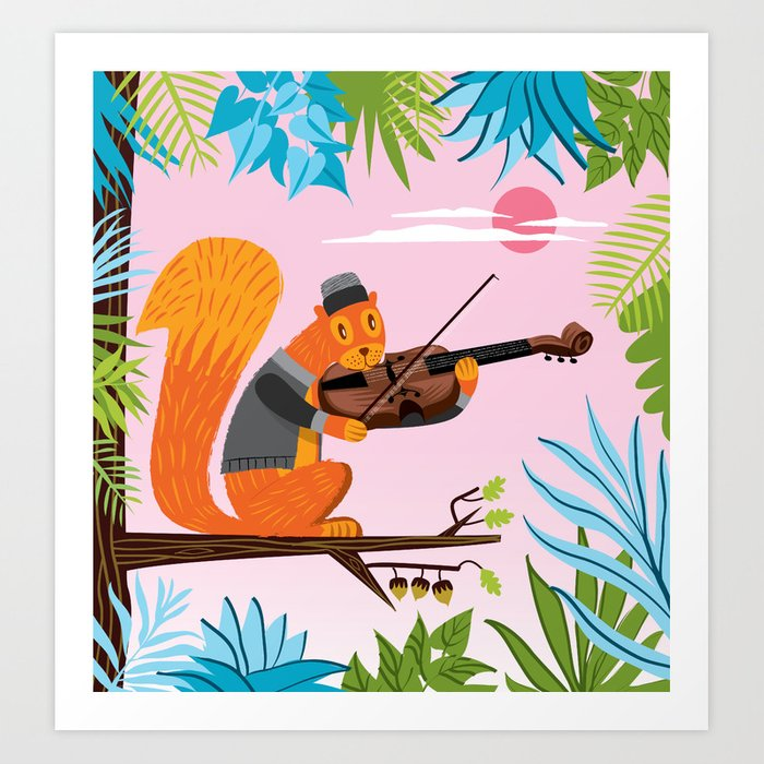Red Squirrel Serenade Art Print