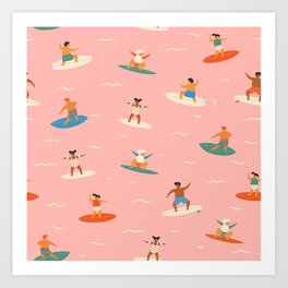 Surf kids Art Print