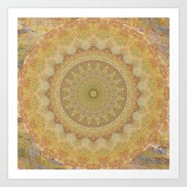 Topaz Gold Sun Marble Mandala Art Print