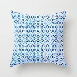 Blue Portuguese Tile Pattern Throw Pillow
