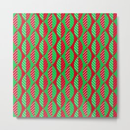 Christmas Mod Leaves in Red and Green Metal Print