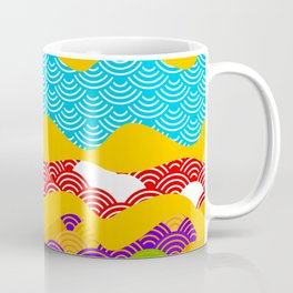 Summer bright pattern  scales simple Nature background with Chinese wave circle pattern Coffee Mug