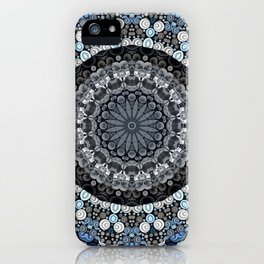 Dark Blue Grey Mandala Design iPhone Case