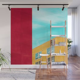 Architectural photography building red+yellow / aqua sky Wall Mural