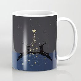 Champagne Gold Star Christmas Tree with Magical Reindeers | Dreamy Blue Coffee Mug