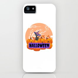 Halloween Cat with Pumpkins iPhone Case