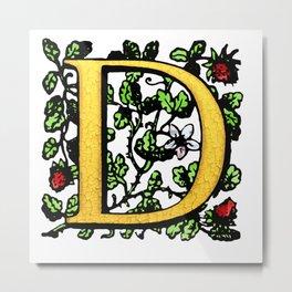 Monogram Initial Alphabet Letter 'D' Metal Print