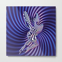 0474s-MM Sensual Woman on Knees Abstract Nude Figure Op Art Blue Topographic Feminine Power Revealed Metal Print