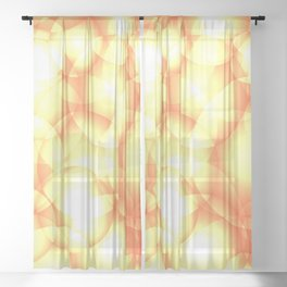 Gentle intersecting golden translucent circles in pastel colors with glow. Sheer Curtain
