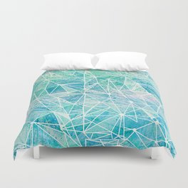 aquamarine with white geometry space Duvet Cover