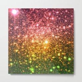 Pink Gold Green Galaxy Sparkle Metal Print