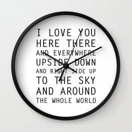 I Love You Everywhere Wall Clock