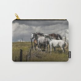 Western Horses by the Pasture Fence under a Cloudy Sky in Montana Carry-All Pouch