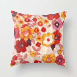 Cross Stitch Flowers Throw Pillow