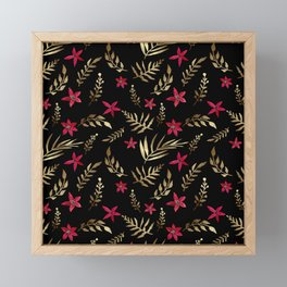 Golden palm tropical glitter leaves and red flowers on black Framed Mini Art Print