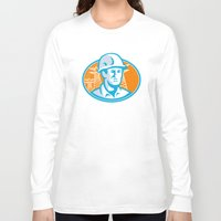 engineer Long Sleeve T-shirts featuring Construction Worker Engineer Pylons Retro by retrovectors