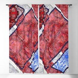 Merlot Marble & Blue Bloom Tiled Accordion  Blackout Curtain