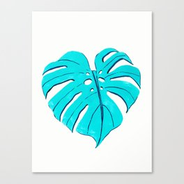 Monstera leaf in turquoise blue Canvas Print